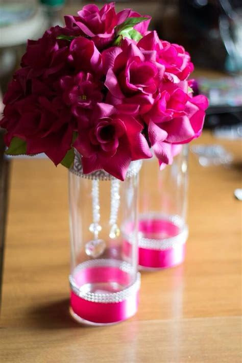 Pink wedding floral centerpieces bling DIY silk flowers