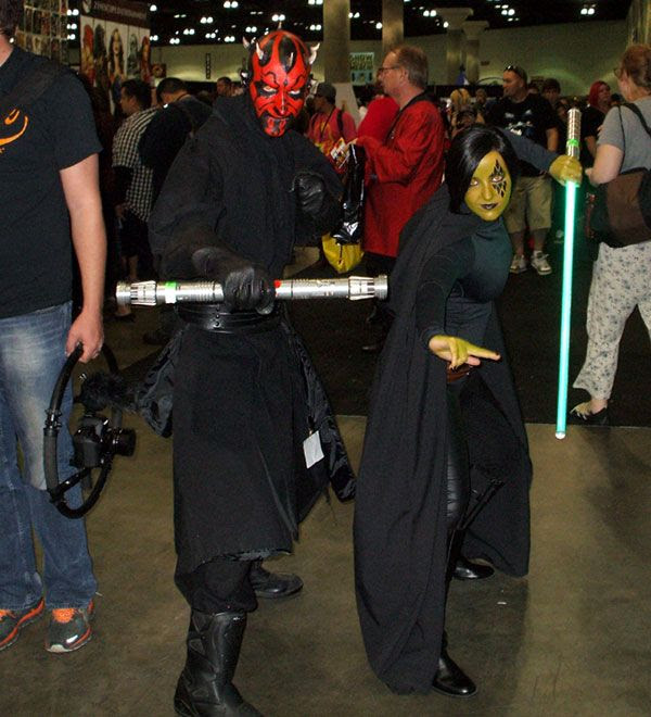 Darth Maul and a Jedi Knight whose name I forgot strike a pose at Stan Lee's Comikaze Expo in downtown Los Angeles, on November 2, 2013.
