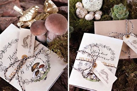 Chrystalace Wedding Stationery Gold Enchanted forest