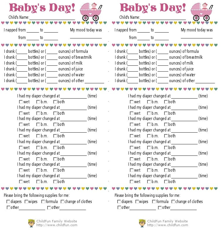 Child Care & Daily Reports Printable Forms | ChildFun