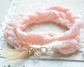 Beach Bracelet No.4 -- Soft Pink Braided lace cord and ribbon tassel with czech glass - littlejarofhearts