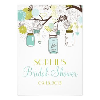 Mason Jars Spring Flowers Bridal Shower Invitation