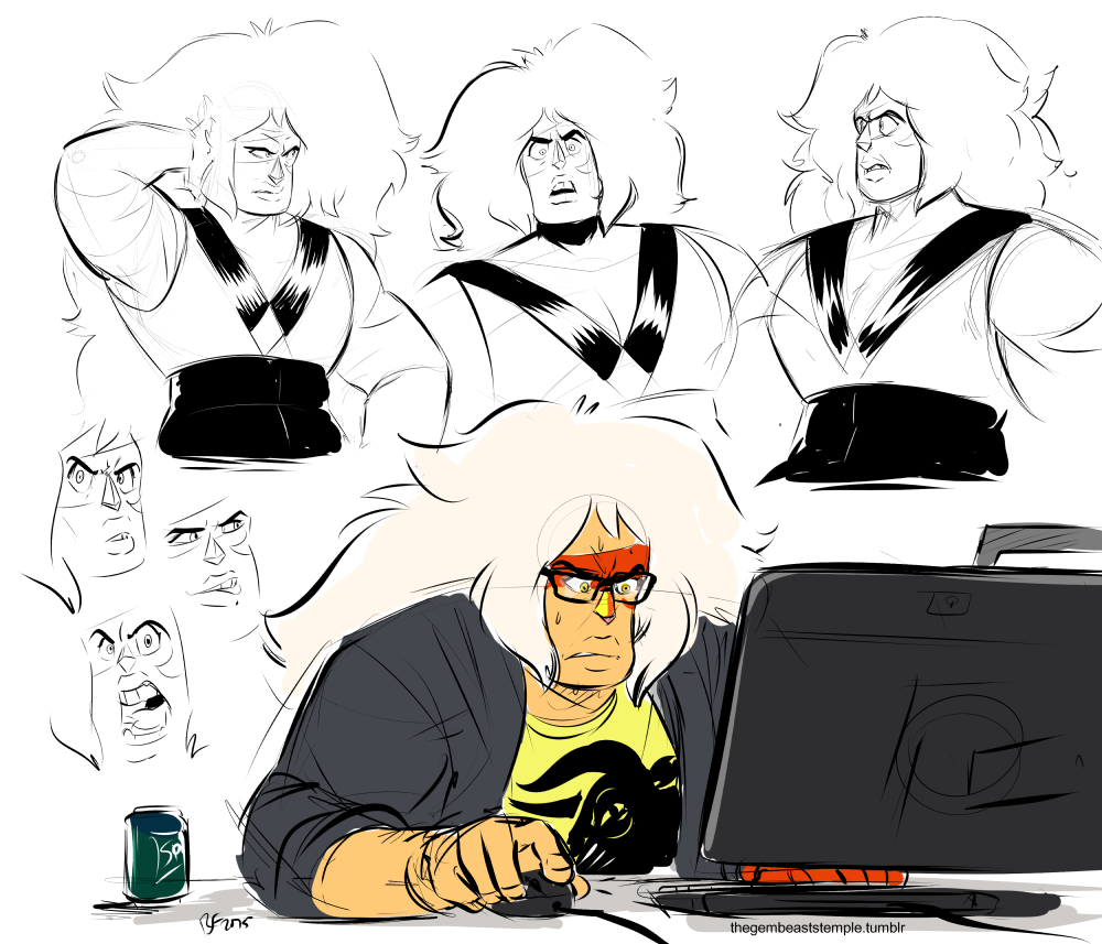 Lunchtime doodles~ I was going to make a joke about Jasper struggling to use a program or something but she's probably just losing hard in agar.io