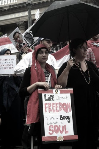 Life without freedom is like a body without a soul - Egypt Uprising protest Melbourne 4 Feb 2011