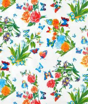 White Mariposa Oilcloth Fabric | onlinefabricstore.net Possible material and design with which to rehab kitchen chairs AND to make roman shades for several irregularly sized windows.