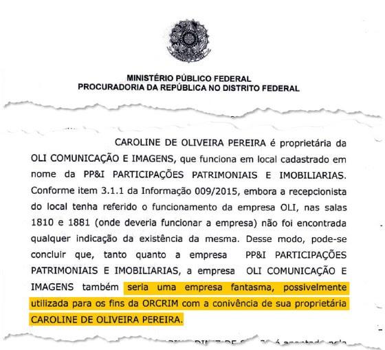 Documento que tem informações de que a empresa de Carolina Oliveira, seria uma empresa fantasma  (Foto: Reprodução)
