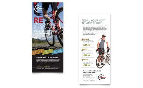 Bike Rentals & Mountain Biking Rack Card Template   Word