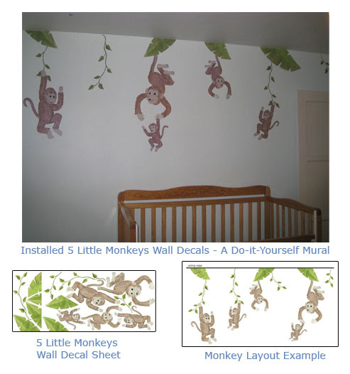 Fun Monkey Wall Art for Baby Nurseries - Kids Rooms - Monkey Wall ...