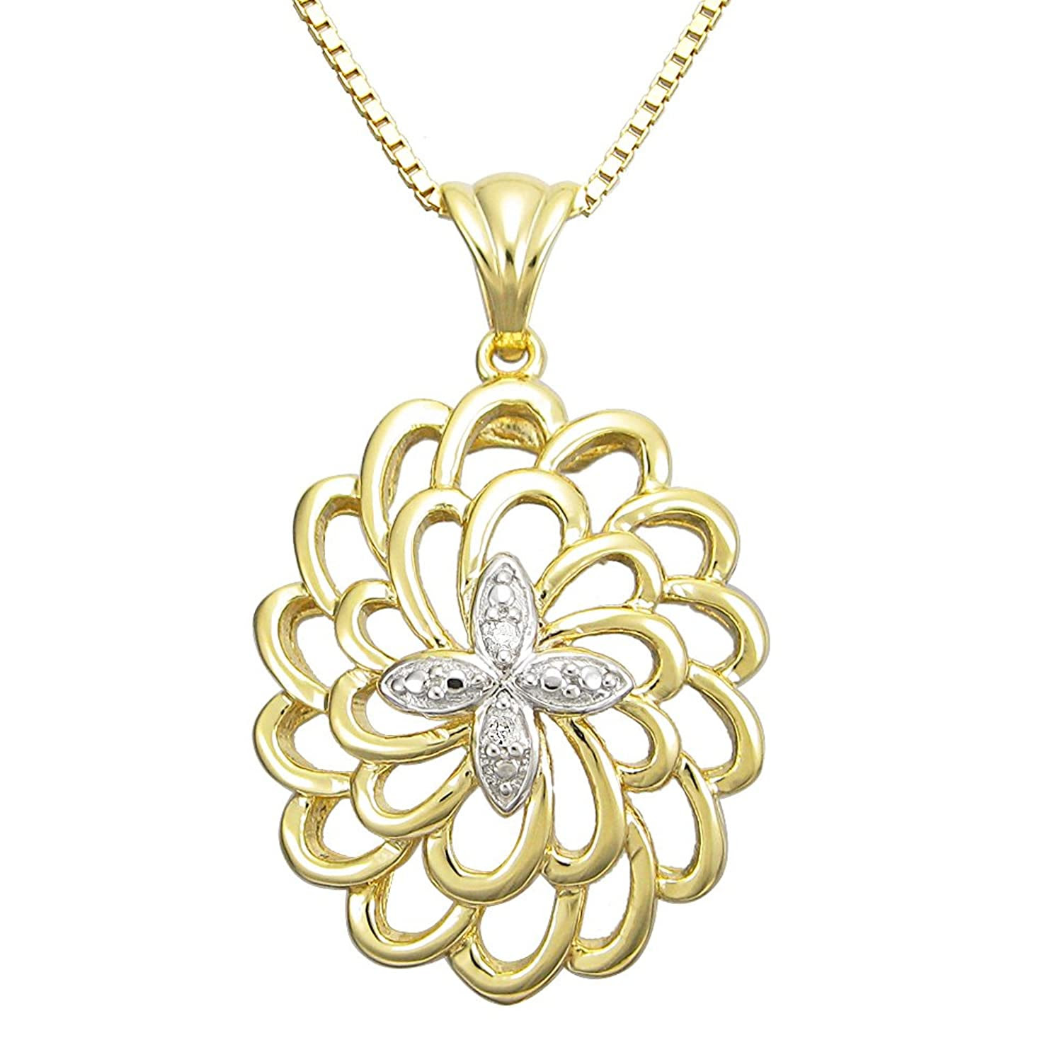 18k gold plated sterling silver with diamond accent cross design