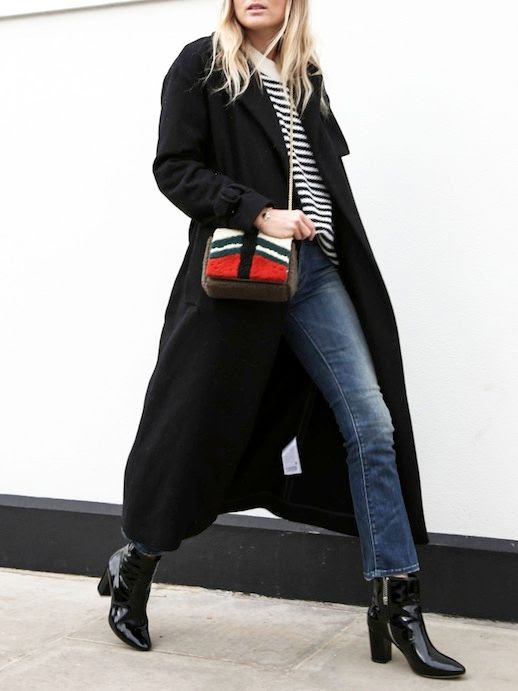 Le Fashion Blog Winter Style Black Hat Full Length Black Trench Coat Striped Knit Shearling Crossbody Bag Cropped Jeans Black Patent Point Toe Ankle Boots Via Fashion Me Now