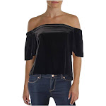Aqua Womens Off-The-Shoulder Velvet Pullover Top Black