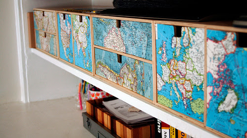map decoupaged drawers via flickr Decorating with Maps