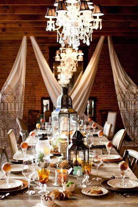 moroccan inspiration wedding reception tablescape, hanging