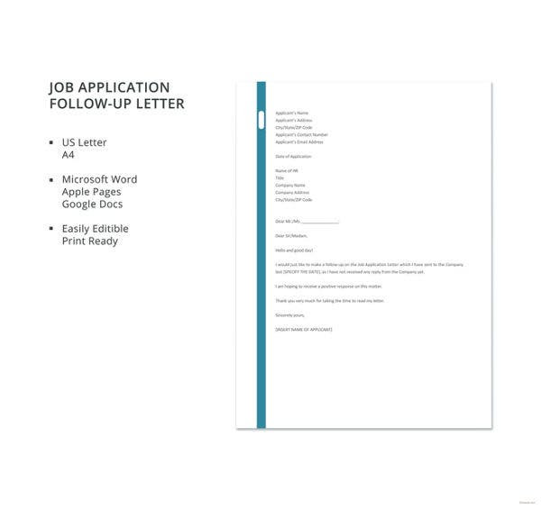 Job Application Follow Up 19 Email Letter Templates
