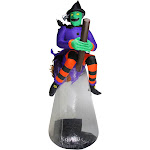 10' Purple and Black LED Lighted Inflatable Flying Witch with Animation Halloween Outdoor Decoration by Christmas Central