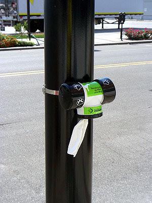 Public Poop bags in downtown