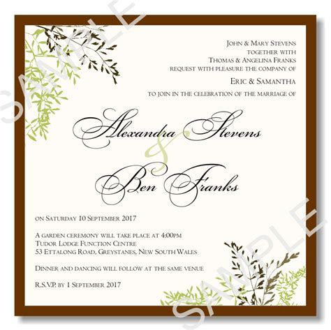 Budget Wedding Invitations Template Wedding Autumn Leaves