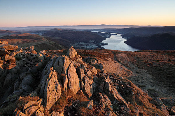 04D-0039 Ullswater and the Distant Pennines From the Summit of Sheffield Pike in Early Morning Light Lake District Cumbria UK