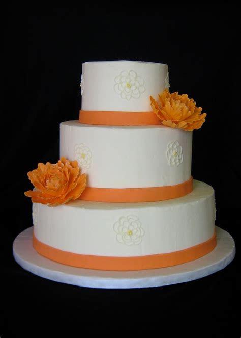 Sublime Bakery: Orange Peonies Wedding Cake