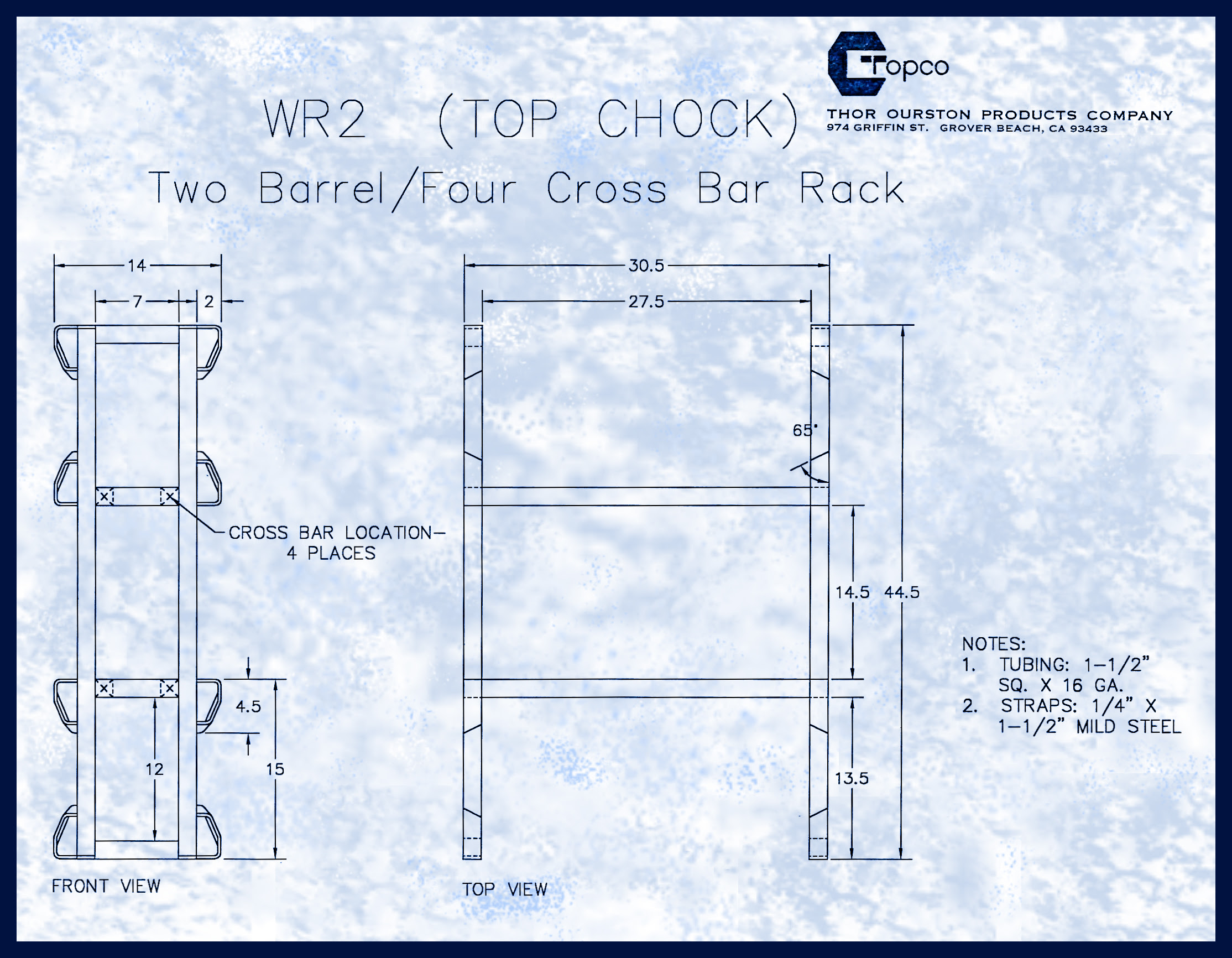 Wr2 Two Barrel Rack Topco Inc We Make Wine Barrel Racks