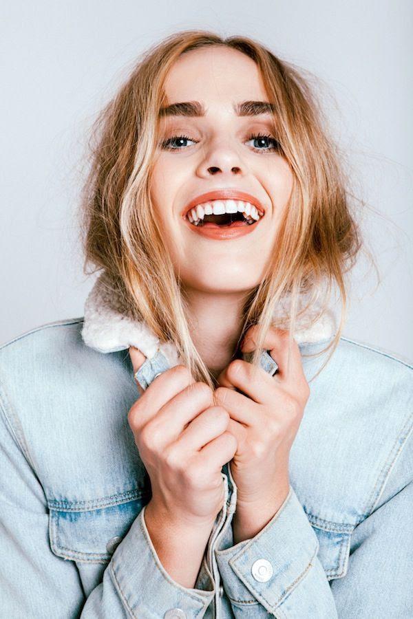 Le Fashion Blog Statement Brows Orange Lipstick Sherpa Jean Jacket Fall Style Beauty Model Lyzy Adler Photographer Robby Mueller