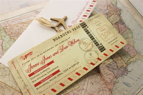 Vintage Air Mail Boarding Pass Wedding Invitation (New