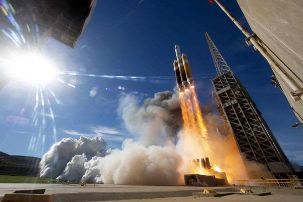 The Delta IV Heavy rocket carrying the NROL-71 payload for the National Reconnaissance Office launches from Vandenberg Air Force Base in California...on January 19, 2019.