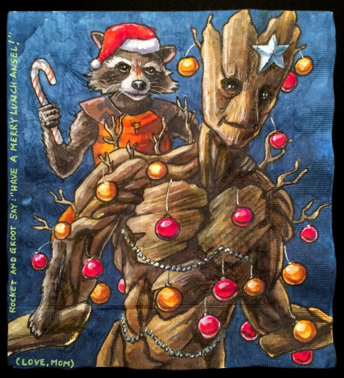 Rocket & Groot decorate for Christmas, but don't seem very happy about replacing the weapon with a candy cane.