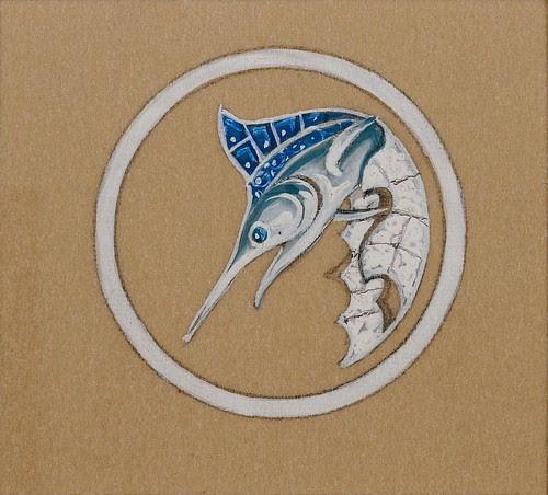 Cartier brooch design (Platinum setting with diamonds, swordfish motif)