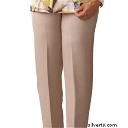 Silverts 130900504 Womens Elastic Waist Pants 2 Pockets - Ladies Pull On Pants - 14, Taupe