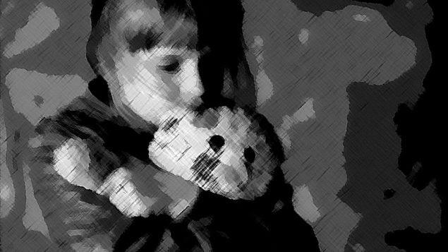 Child and teddy bear, courtesy of @oddartpuns.