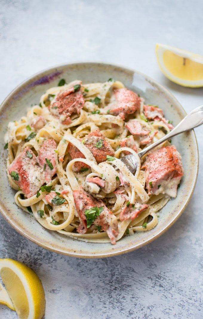 Salmon Pasta with a Creamy Garlic Sauce