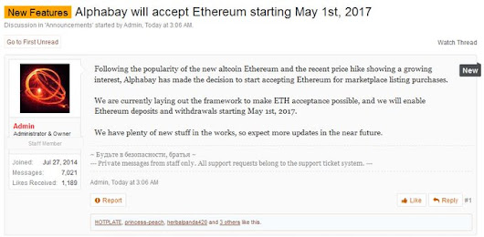 AlphaBay Adds Support for Ethereum as Transaction Volume Surpasses Bitcoin