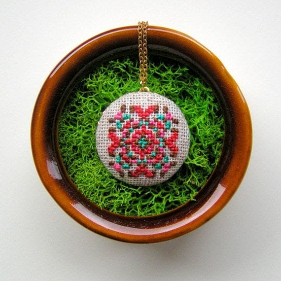 Folk Fractal Cross Stitched Pendant Necklace