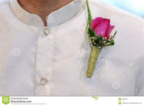 Barong Tagalog With Pink Corsage At Wedding Royalty Free