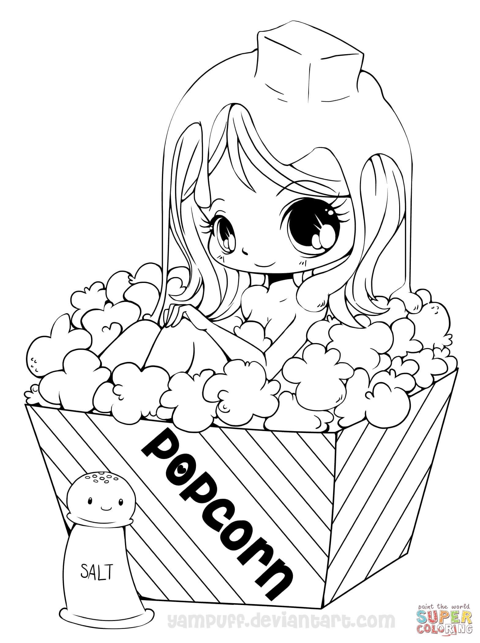 Chibi Popcorn Girl coloring page   Free Printable Coloring ...