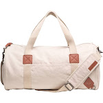 Basic Cotton Barrel Duffel Bag, Brown