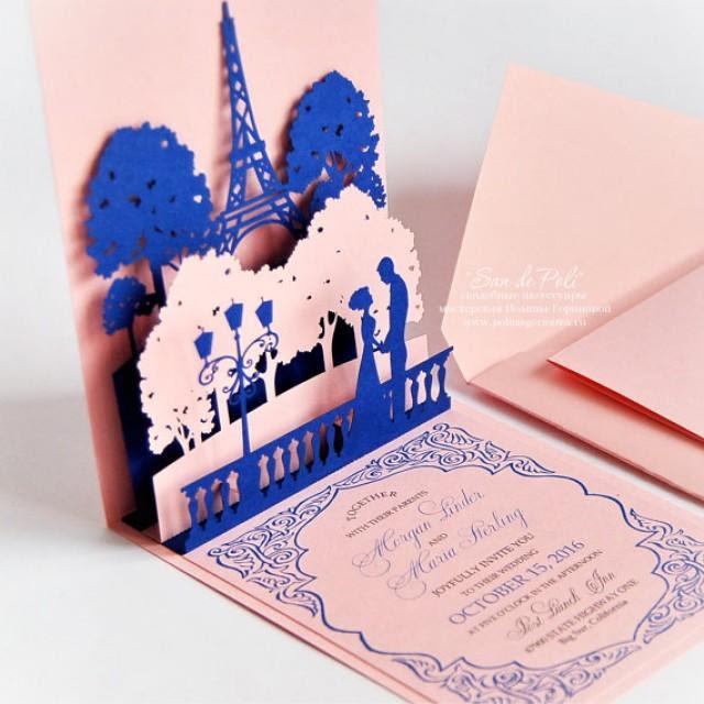 Download Pop-up Wedding Invitations Lovers Of Paris Eiffel Tower ...