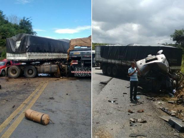 Motoristas das carretas morreram após batida na BR-242, na Bahia (Foto: Edivaldo Braga/ Blog do Braga)