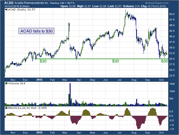 1-year chart of Acadia (NASDAQ: ACAD)