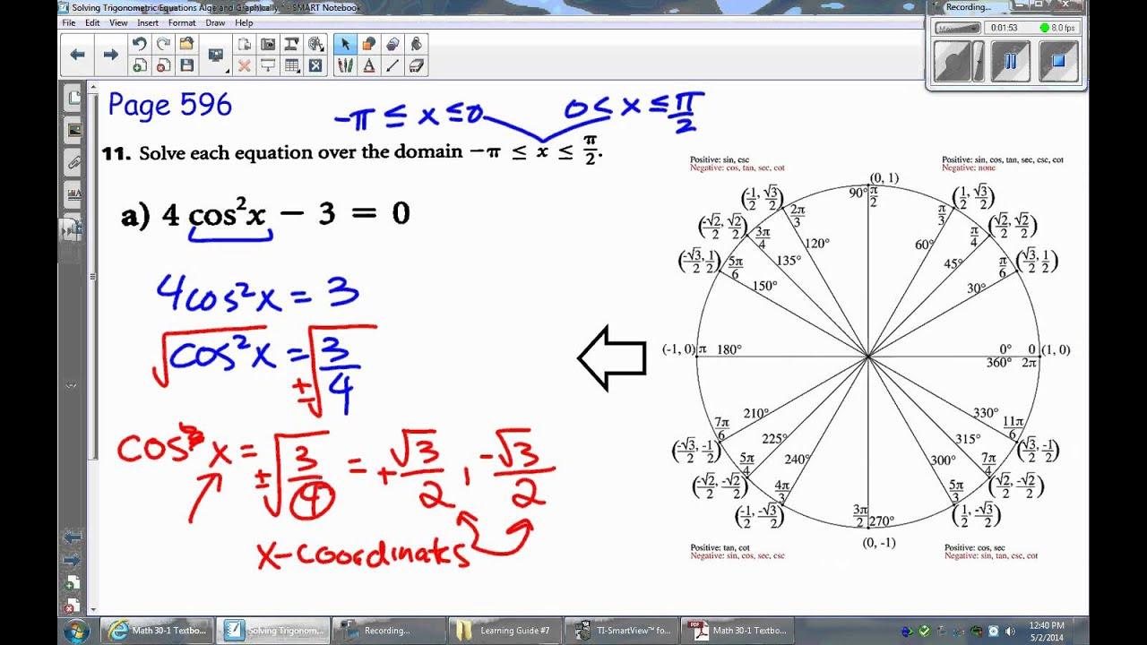 LG07 Lesson 4a Solving a Second Degree Trigonometric Equation with ...