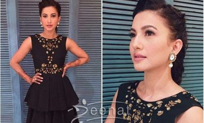 Gauhar Khan in black for the promotion of Begum Jaan