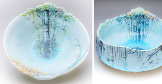 Aspen Trees Grow on Delicate Ceramic Vessels by Heesoo Lee