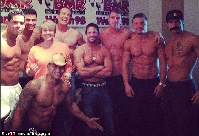 Boy Howdy: The full cast of 'Men of the Strip' pictured at the BMR Radio show promoting their new show with the DJ