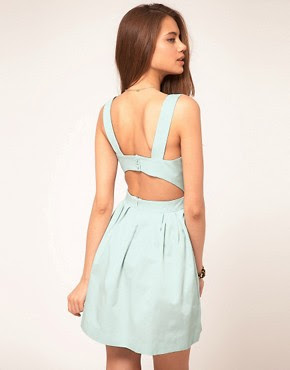 Image 1 of ASOS Skater Dress with Cut Out Back