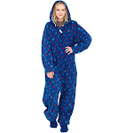 Xmas Icons Navy Ugly Christmas Pajama Suit with Hood