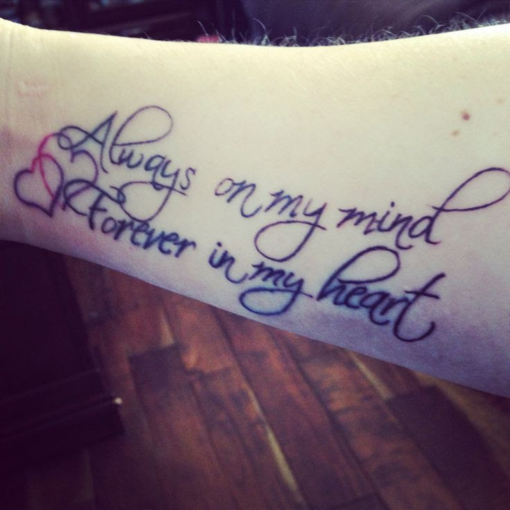 Always On My Mind Forever In My Heart Shoulder Tattoo Traffic Club