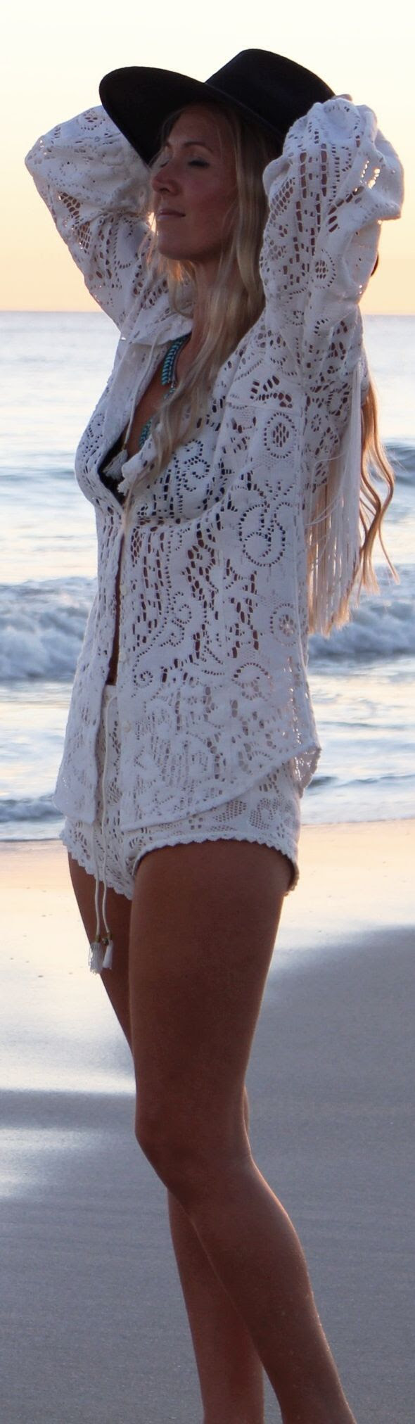 Free People White Beach Long Sleeve Crochet Semi-sheer Button Up