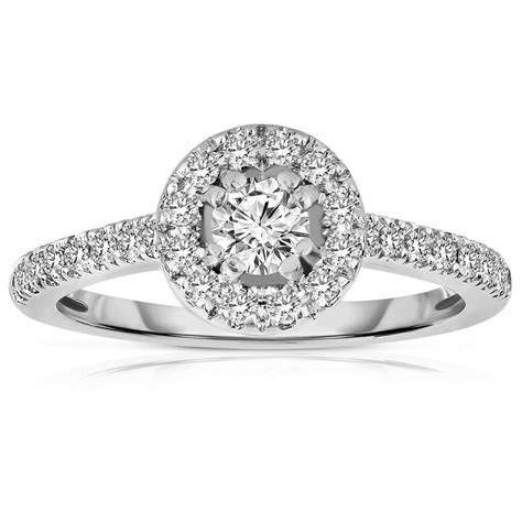 Half Carat Round cut Halo Diamond Engagement Ring in White