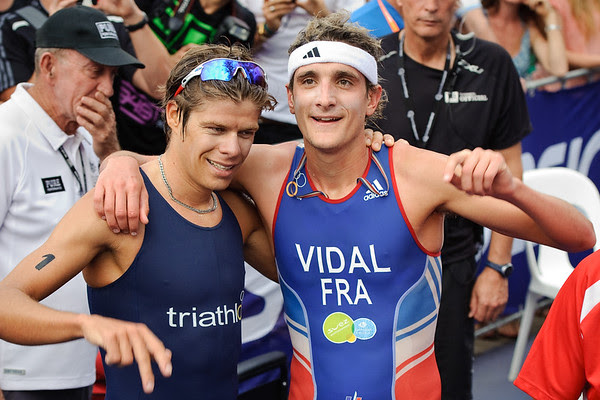 French 1st & 3rd: Laurent Vidal (right) & David Hauss (left) - 2012 Subaru Mooloolaba Men's ITU Triathlon World Cup; Mooloolaba, Sunshine Coast, Queensland, Australia; 24 March 2012. Photos by Des Thureson - disci.smugmug.com.